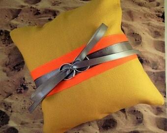 Fire fighter Turnout bunker Gear Bright Orange Gray Satin Wedding Ring Bearer Pillow