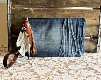 Canvas clutch wristlet /pouch/ wallet/ makeup pouch metal zipper purse denim indigo Leather trim- READY--