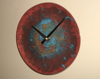 Hand Painted Copper and Turquoise Abstract Wall Clock, 8-1/2 Inches SILENT Plate Clock, Original Art Wall Clock, Unique Wall Decor - 2277