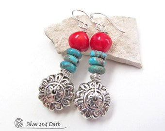 Sterling Silver Flower Earrings, Turquoise Earrings, Red Coral Earrings, Flower Jewelry, Turquoise & Coral, Botanical Nature Jewelry