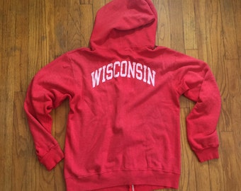 University of Wisconsin red Champion hoodie great wear large