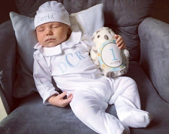 Baby Boy Coming Home Outfit, Newborn Baby Boy Clothes,Pima Cotton Baby,Hunter Footed Sleeper-Baby Boy Shower Gift,