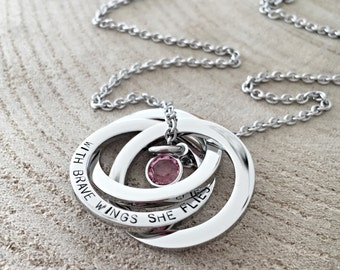 In Memory Hand Stamped Necklace, Loss of Loved One, Remembrance Necklace, Three Rings Necklace, Interlocking Rings Jewelry
