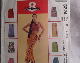 McCall's Pencil Wrap Skirt pattern 3224 Misses size 8 10 12 DIY sewing pattern