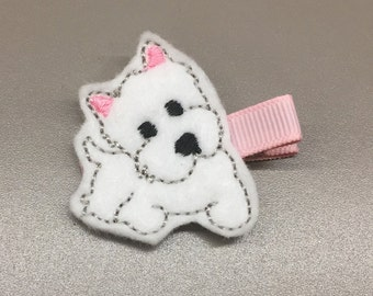 Felt Pink/White West Highland Terrier/Westie Puppy Dog Single Prong Hair Clip