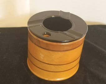Vintage cigarette ashtray holder case-inlay wood made in japan. Mid century chic