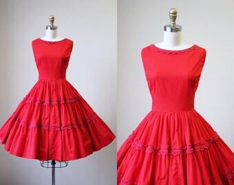 50s Dress - Vintage 1950s Dress - Red Cotton Crochet Lace Full Circle Skirt Sundress M L - Paprika Dress