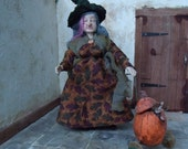 1/12th scale Witch Dolls House Miniature Old Lady Pumpkin Trolley Reserved for Suzanne