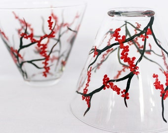 Red winter berries, hand painted stemless martini glasses with red berries, holiday glassware, painted martini glasses, set of 2