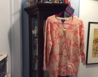 Woman's Talbots Cashmere Sweater size L mint condition coral and cream color -Summer sale