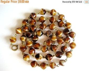 HOLIDAY SALE Vintage tiger's eye bead necklace. Beads individually strung with brass wire. Lovely gift.