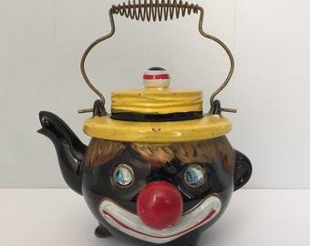 Vintage Black Americana Teapot. 1940s. Japan. Thames Clown. Redware