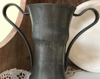 Vintage Silverplated Trophy D.C.F.C. August 17 1907 George Craig Football Club trophy Soccer Handled Metal Trophy Silver plated Cup Antique