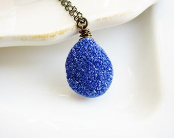 Blue Druzy Necklace, Nugget Necklace, Boho Necklace, Long Layering Necklace, Geology Necklace, Nature Lover, Rustic Jewelry, Stone Necklace
