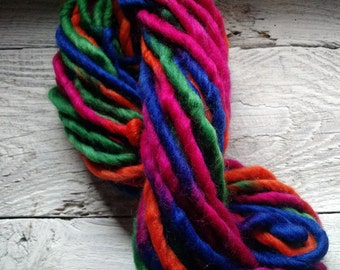 Bright handspun art yarn, Waldorf doll hair, bulky yarn
