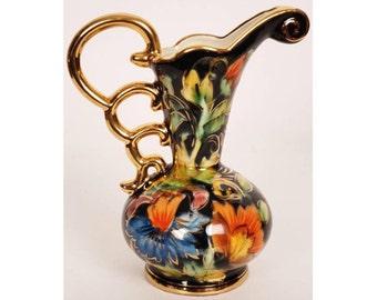 Vintage BELGIAN Ceramic POTTERY Decorative Ewer Vase - H BEQUET - Quaregnon - Belgium
