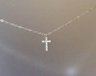 CZ Cross Necklace on a Fine Sterling Chain - Christian - Everyday Necklace