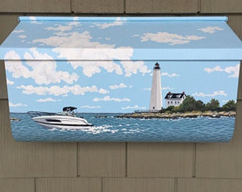Hand Painted Custom Mailbox, Their boat with the local Lighthouse in background. Great Gift
