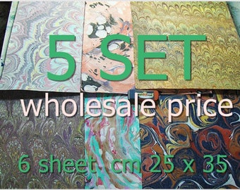 5 hand marbled  paper set  of  six carta marmorizzata,, 30  scrap  cm 25 x 35  - 4809
