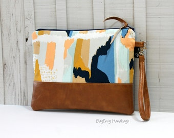 Grab N Go Wristlet Clutch - Navajo Canvas with Vegan Leather