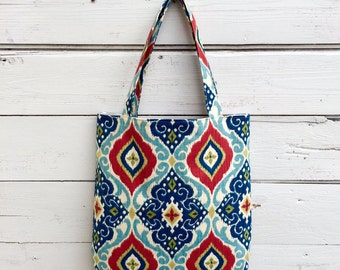 Tote Bag, Canvas Tote Bag, Purse, Handbag, Red and Blue Tote Bag, Floral Tote Bag, Book Bag, Summer Tote Bag