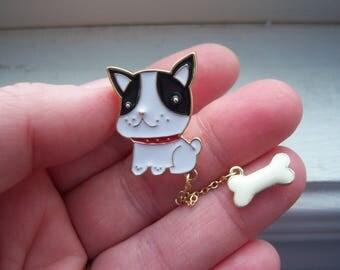Dog Pin - French Bulldog Pin -Dog With A bone Pin