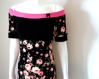 Pretty in pink floral • Off Shoulder • Tunic Shirt /Dress • Small - Medium flowers