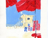Holiday sale The Beach, art print, print of Acrylic painting ,beach cabin art, nautical art, red blue coastal art, beach print, beach art pr