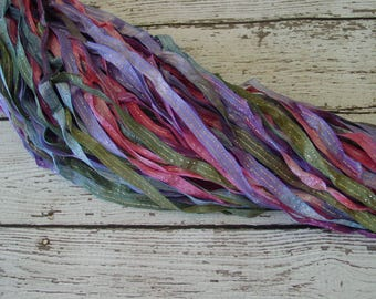 Hand Dyed Ribbon PIXIE JOURNEY - quarter inch dazzle ribbon, 5 yards