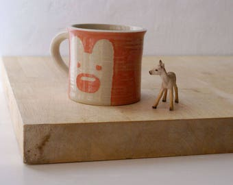 One mini pink bear mug - kawaii stoneware pottery glazed in simply clay