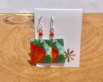 Repurposed Strawberry Starbucks gift card earrings