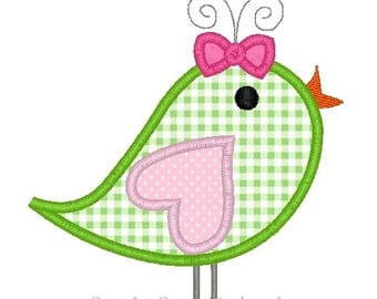 Girl Bird Applique Design