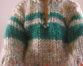 """Hand Knit Doll Clothes Gray Teal Sweater fits 12"""" fashion doll such as Ken"""