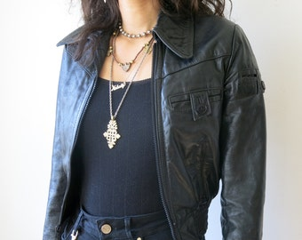 Black Leather Bomber / Leather Jacket XS / Cropped Jacket XXS Tiny Fit