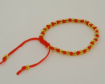 14K Gold Plate With Good Luck Red String Bracelet