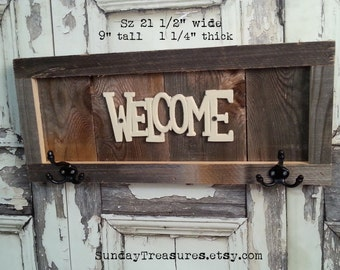 FREE SHIP Rustic Welcome Sign Hook Rack, Reclaimed Wood, Old Barn Wood, Framed, Country Cabin Farmhouse Decor, Ready To Ship