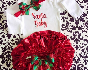 Christmas baby outfit, Santa Baby Christmas long sleeve onesie, Red Tutu bloomer,  red and green sparkle baby headband , Christmas set