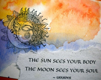 SUN & MOON ~ Watercolor Greeting Card with celestial quote