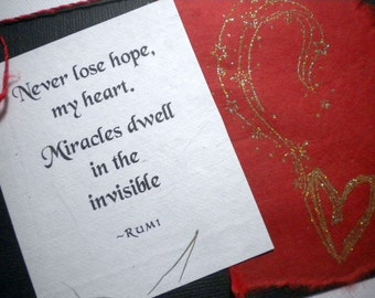 MIRACLES ~ Multi media collage greeting card, quote by Rumi