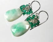 Green Gemstone Earrings, Jade Earrings, Green Cluster Earrings, Sterling Silver