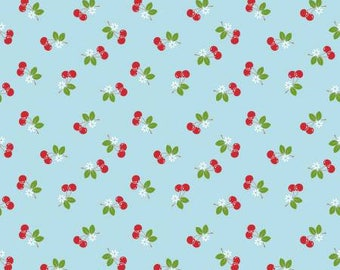 Sew cherry 2 Aqua Cherry by Lori Holt for Riley Blake C5804-AQUA