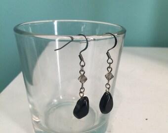 Boho Simple Handmade Black Tear Drop Earrings