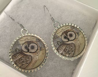 Round Silver Heart and Owl Earrings with Resin Finish 25mm