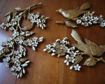Pair of  Birds and Dogwood Branch Wall Decor - White on Gold Guild - 1967 - Dart Ind. - Woodland - Farmhouse - Cottage Chic