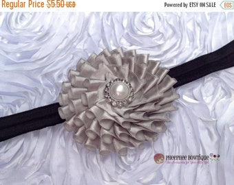 30% OFF SPRING SALE Silver Flower Headband, Satin, Infant Headband, Baby Headband, Newborn Headband, Flower Girl, Baby Shower Gift, School H
