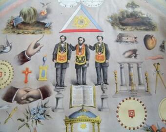 1866 Templar's Chart original lithography Masons