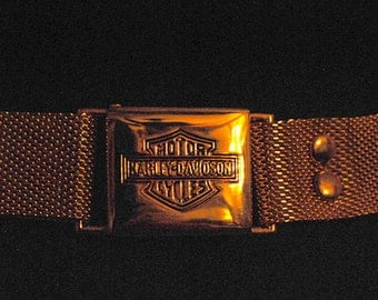 Ladie's Harley Davidson Adjustable Vintage Gold Mesh Belt
