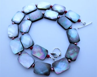Black Mother of Pearl Sterling Silver Geometric Beaded Necklace