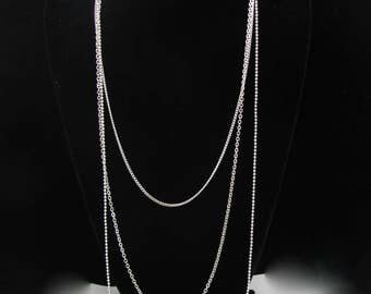 Vintage Chain Necklace, 24-40 inch LONG Multi Silvertone Chain,  Wrap Opera Length Lobster Clasp, Claires Retro Chain