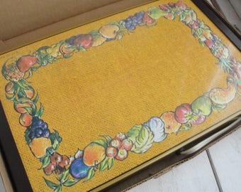 Vintage Warm O Tray Fruit Design in Box